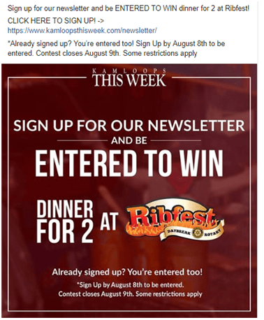 cool example of a newsletter subscription contest