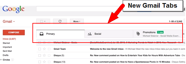 new tabs in gmail