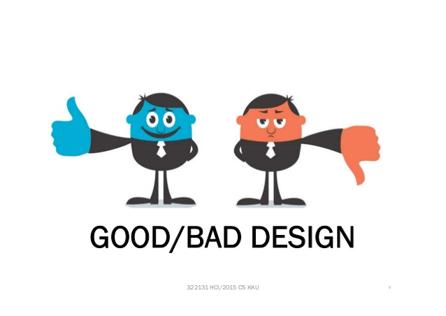 Depicts good/bad design. Blue & Red faced cartoon men wearing suits showing thumbs-up & thumbs-down respectively.