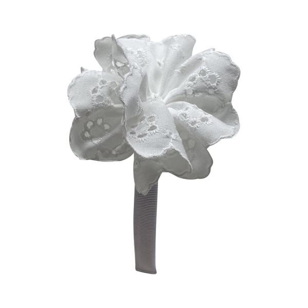 diadema color blanco pompón