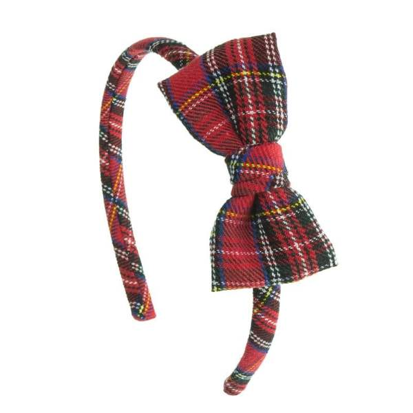 diadema escocesa con lazo rojo