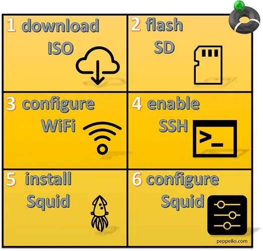 Squid Raspberry PI infographics