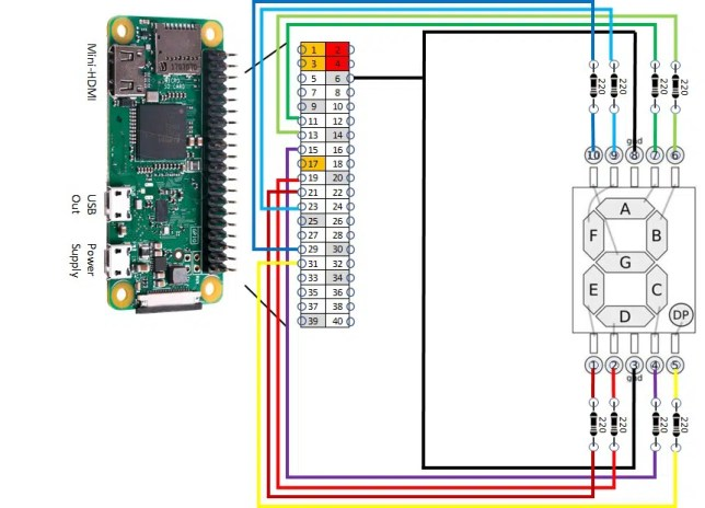 RPI 7 digit display wiring