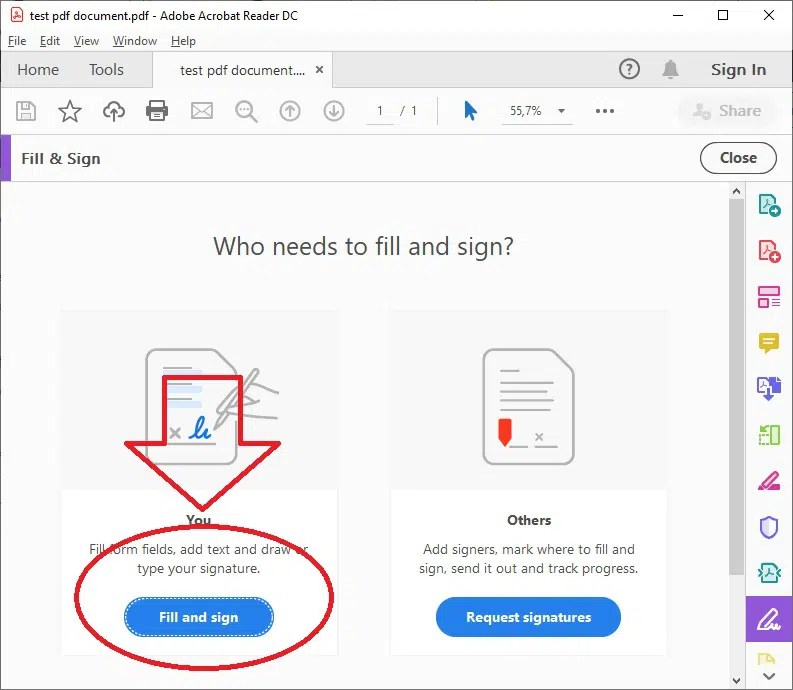 Adobe Reader confirm fill and sign