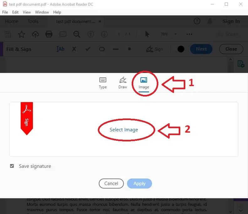 Adobe Reader select image signature