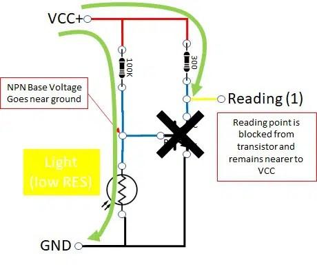 photoresistor circuit on light