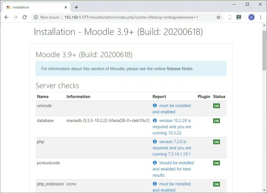Moodle web installation requirements check