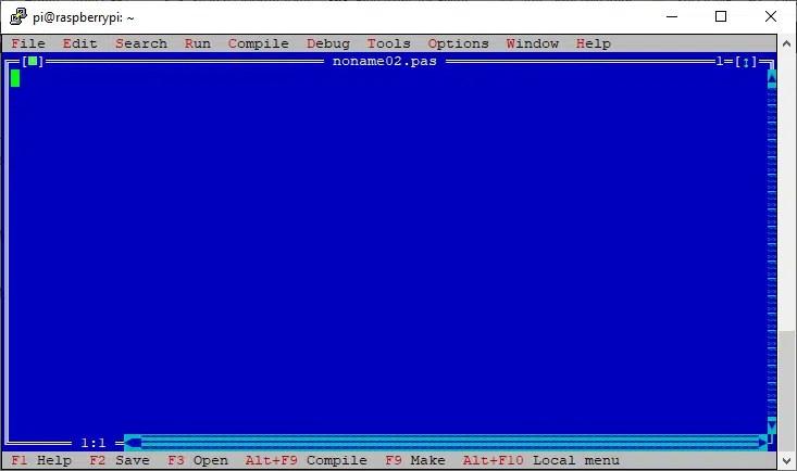 Raspberry PI Free Pascal IDE New File