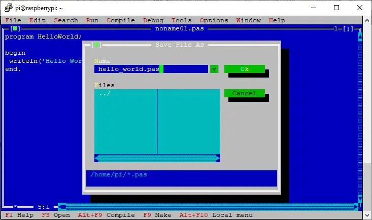 Raspberry PI Free Pascal IDE Save as hello world