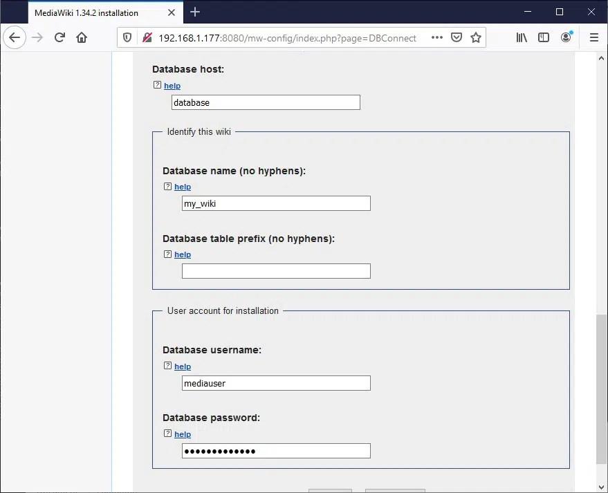 Raspberry PI Mediawiki database configuration