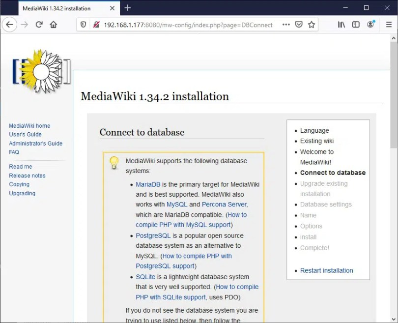 Raspberry PI Mediawiki database connection