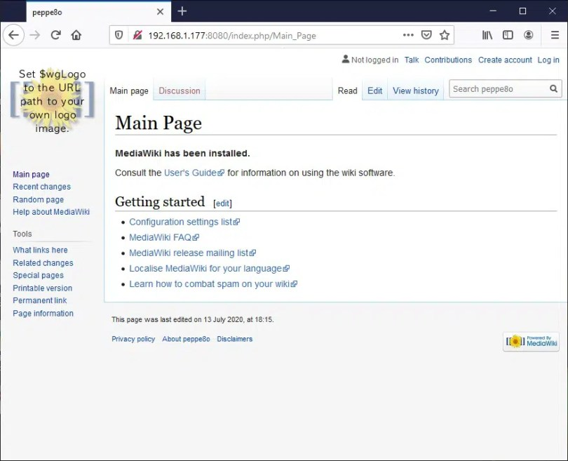 Raspberry PI Mediawiki home