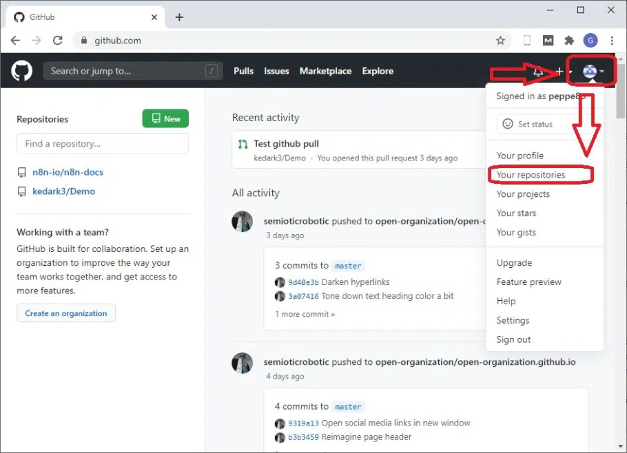 GitHub go to Repositories