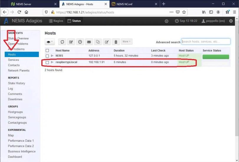 NEMS Adagios hosts list with raspberry pi