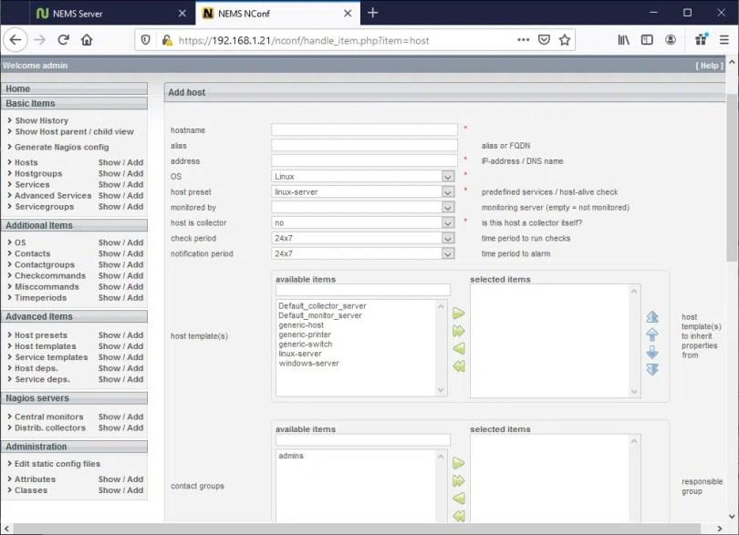 NEMS Add Hosts page