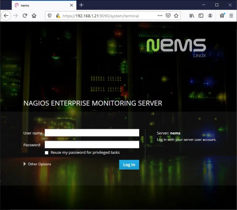 NEMS login page