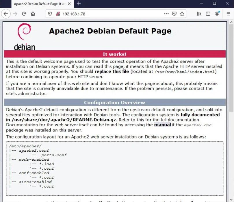 Apache debian default page