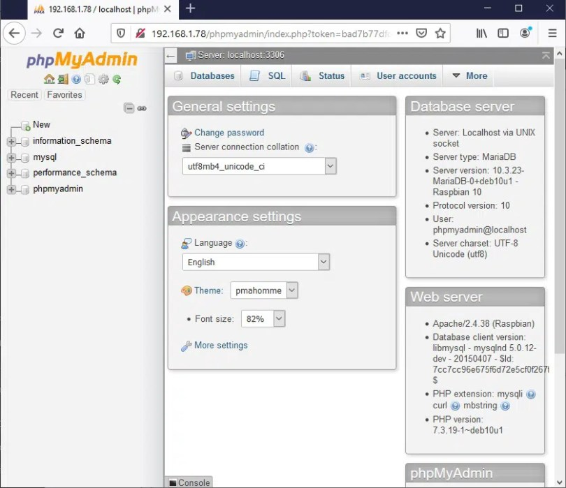 phpmyadmin home page