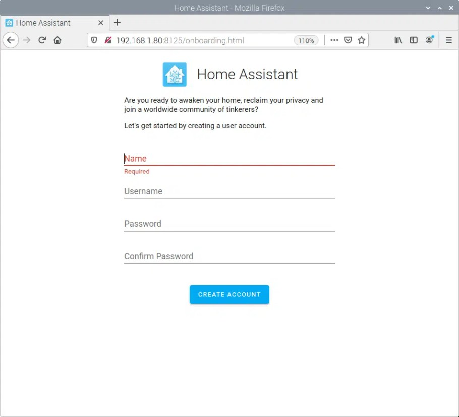home-assistant first access new user