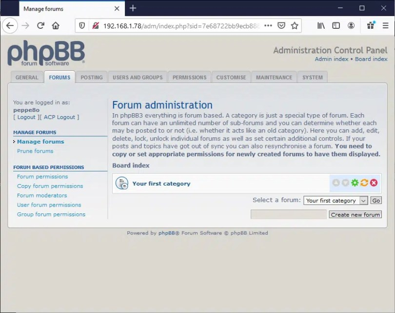 phpBB ACP Forums tab