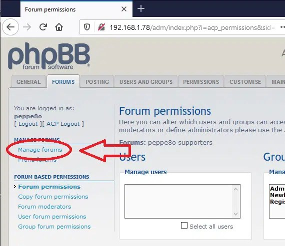 phpBB ACP manage Forums link