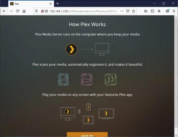 Plex Server web setup - 02