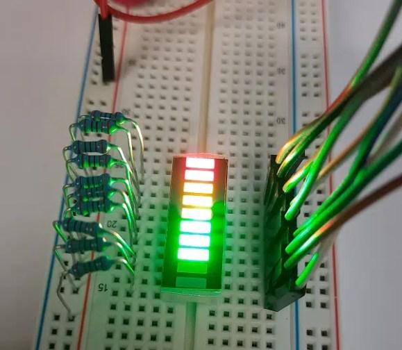 Raspberry PI 10 segment led bar running leds