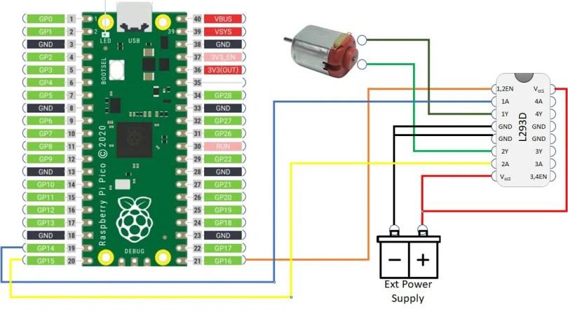 raspberry pi pico L293D dc motor wiring