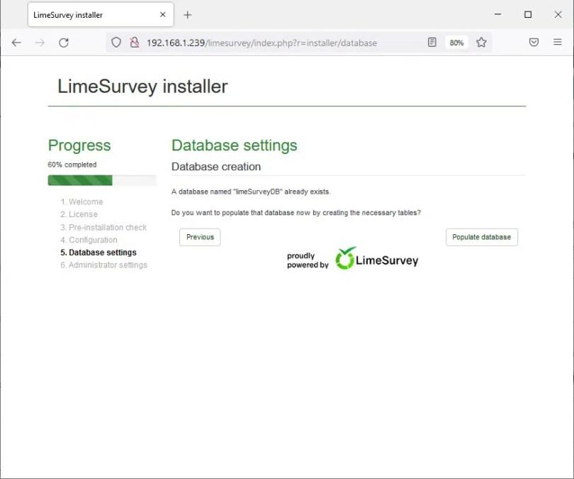 Raspberry PI limesurvey install 05 database check