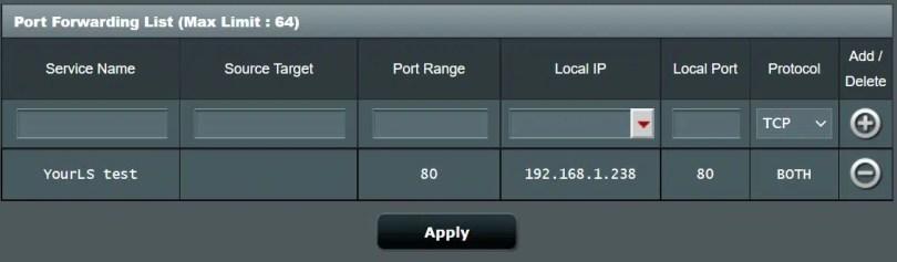 yourls port forwarding 80