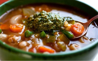 TUSCAN VEGETABLE WHITE BEAN SOUP with PESTO