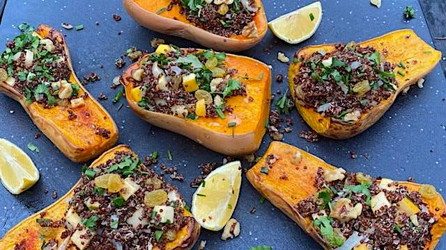 SPICED QUINOA STUFFED BUTTERNUT SQUASH