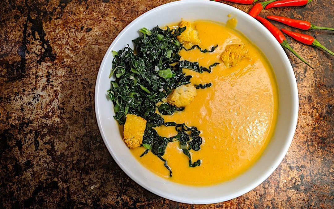 COCONUT CURRY CAULIFLOWER SOUP with Coconut Kale Sauté