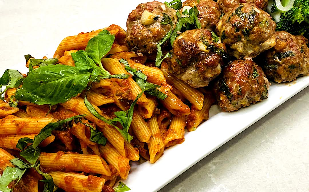 ROASTED HEIRLOOM TOMATO PENNE with or without MEATBALLS