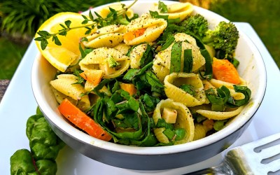 SHELL PASTA SALAD with SPRING CHARD and HERB VINAIGRETTE