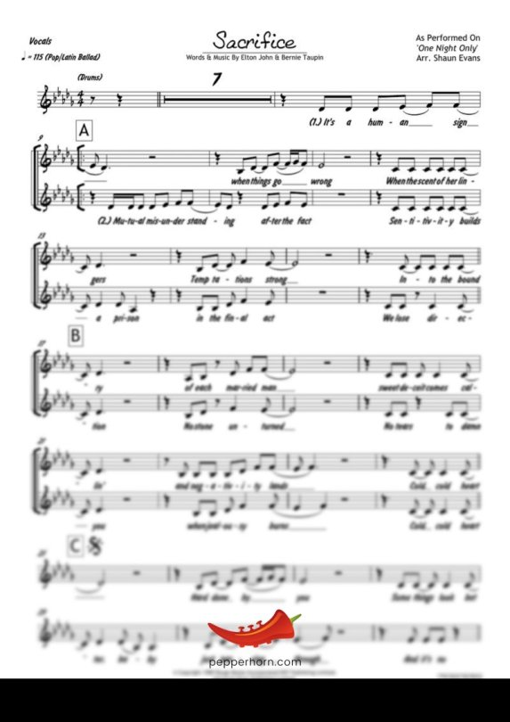 Sacrifice (Elton John) 4 Horn Alto
