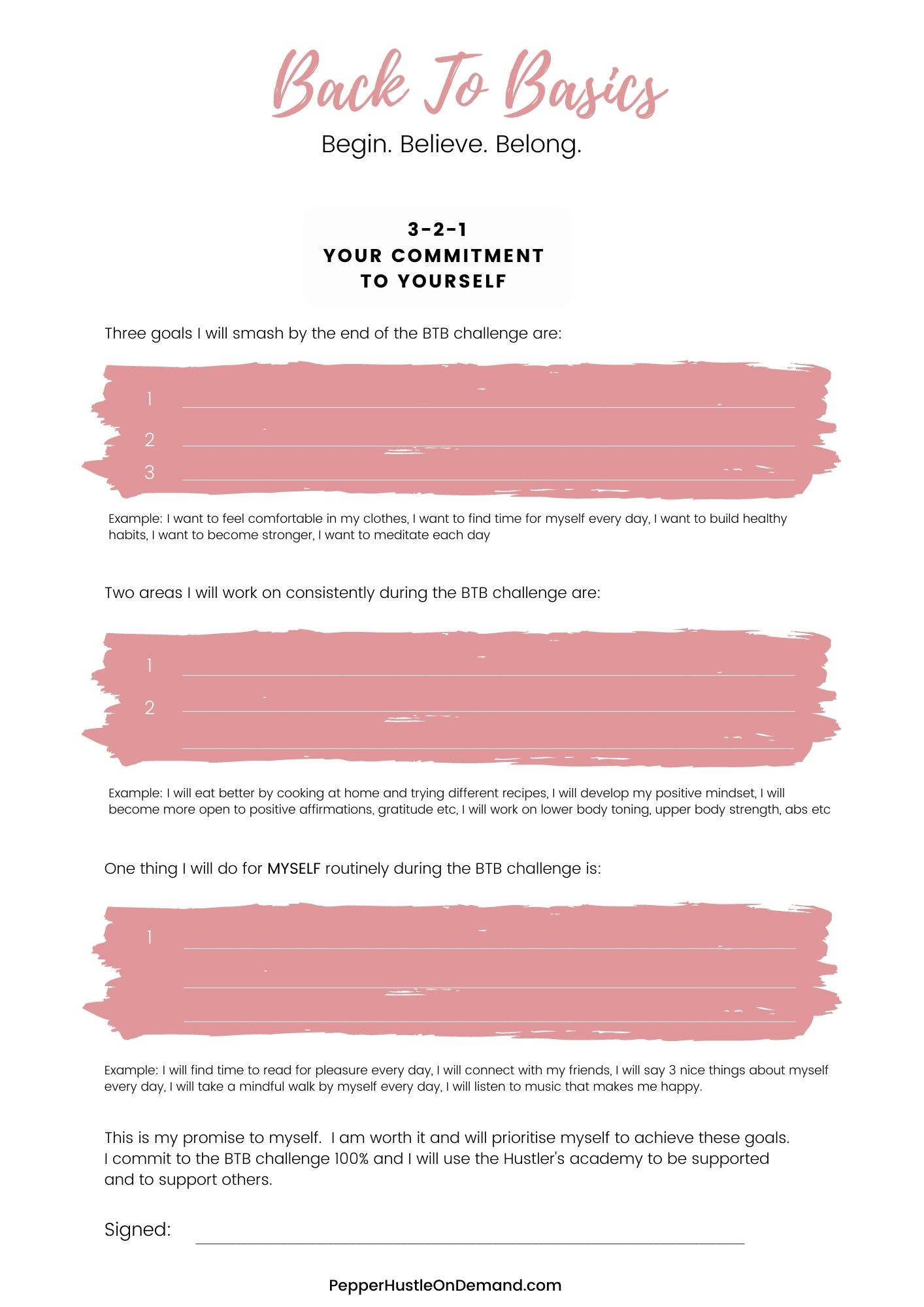 Back To Basics Goal Setting Worksheet