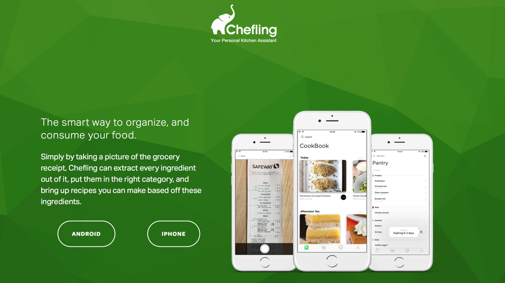 Screenshot of Chefling webpage