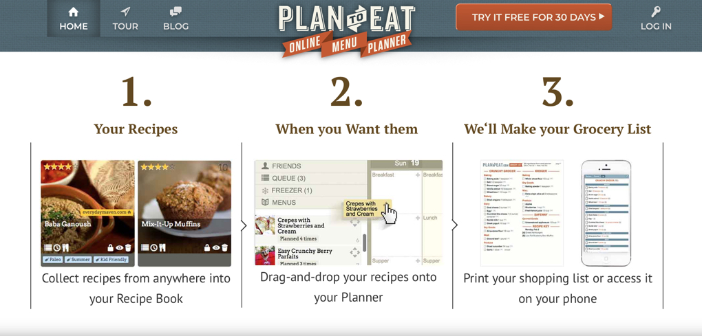 Screenshot of Plan to Eat webpage, which is a recommended meal planning tool
