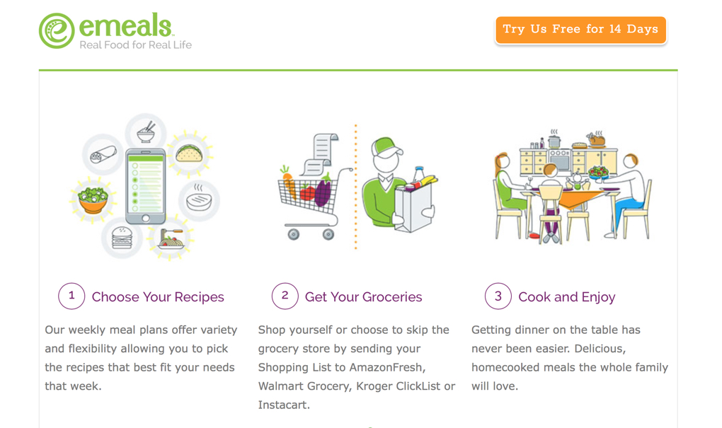 Screenshot of emeals webpage