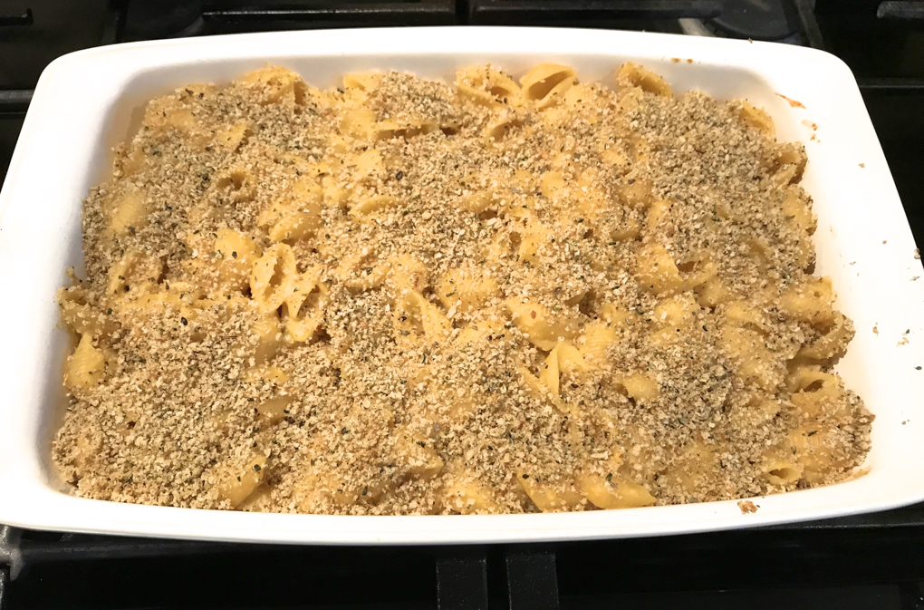 Photo of Sharp White Mac and Cheese Bake in white casserole dish