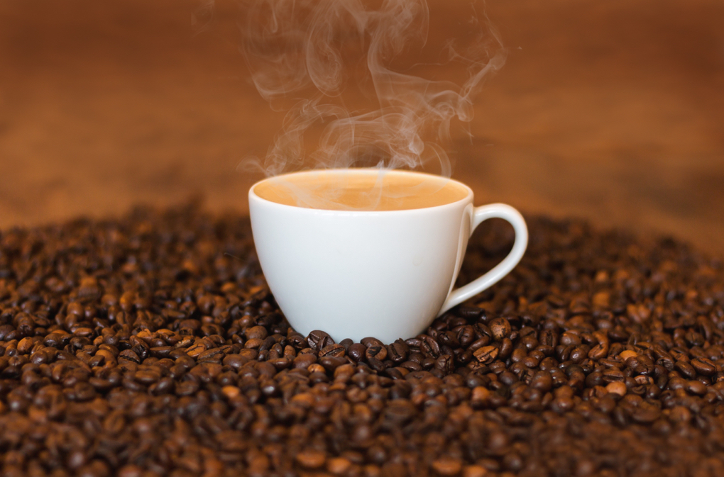 Photo of a steaming cup of coffee in a white cup sitting on coffee beans