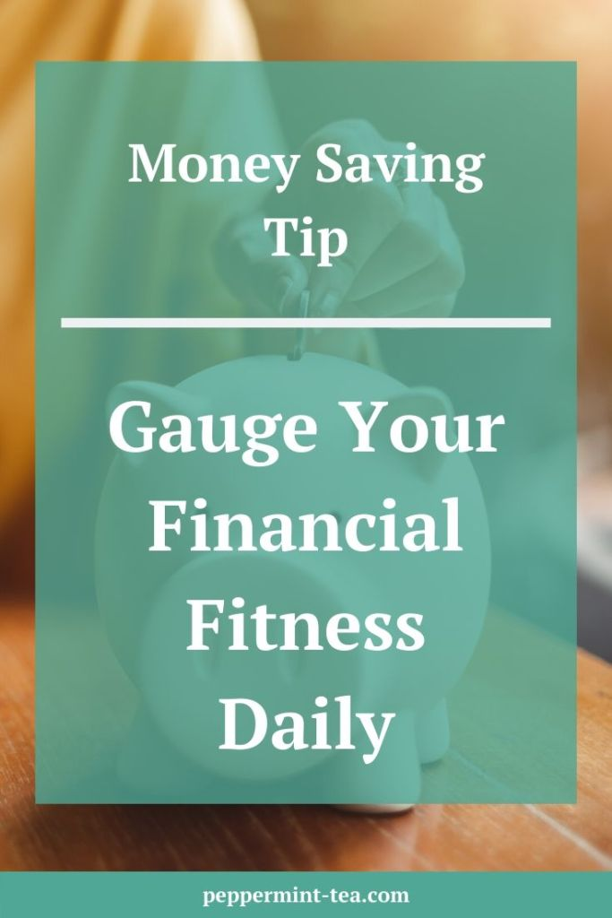 "Image of hand putting coin in piggy bank covered by text that says ""Gauge Your Financial Fitness Daily"""