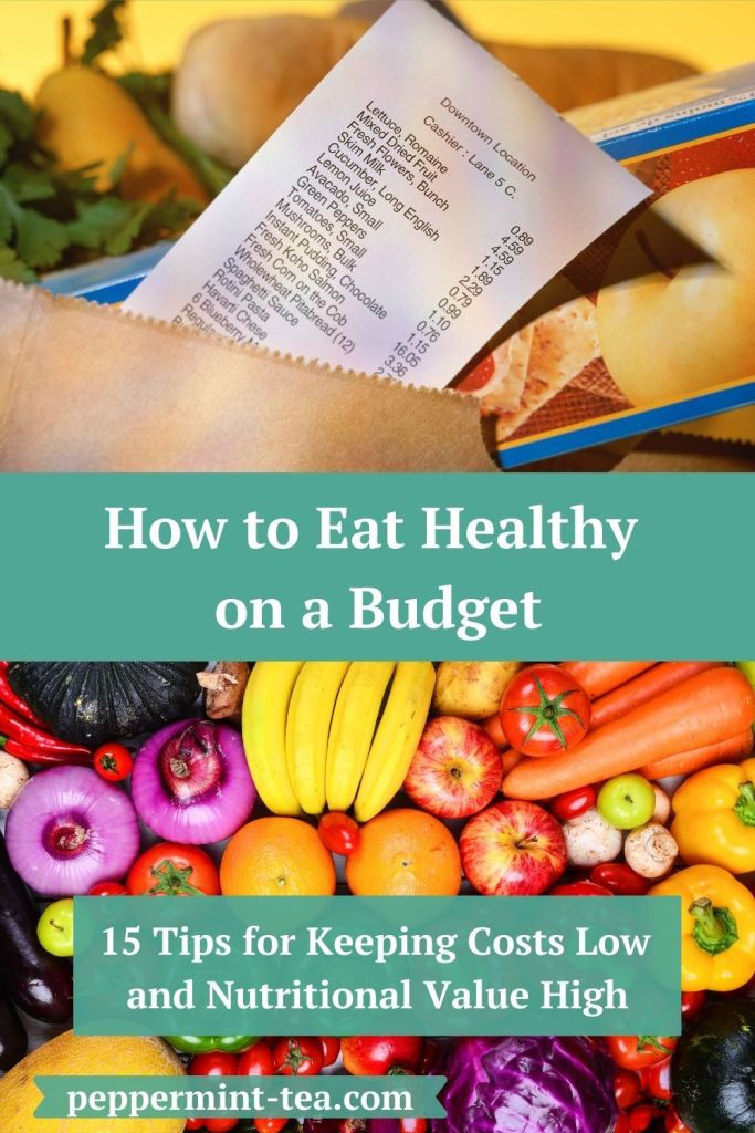 Photos of fruits and vegetables and of a receipt lying on top of a bag of groceries as examples of eating healthy on a budget.