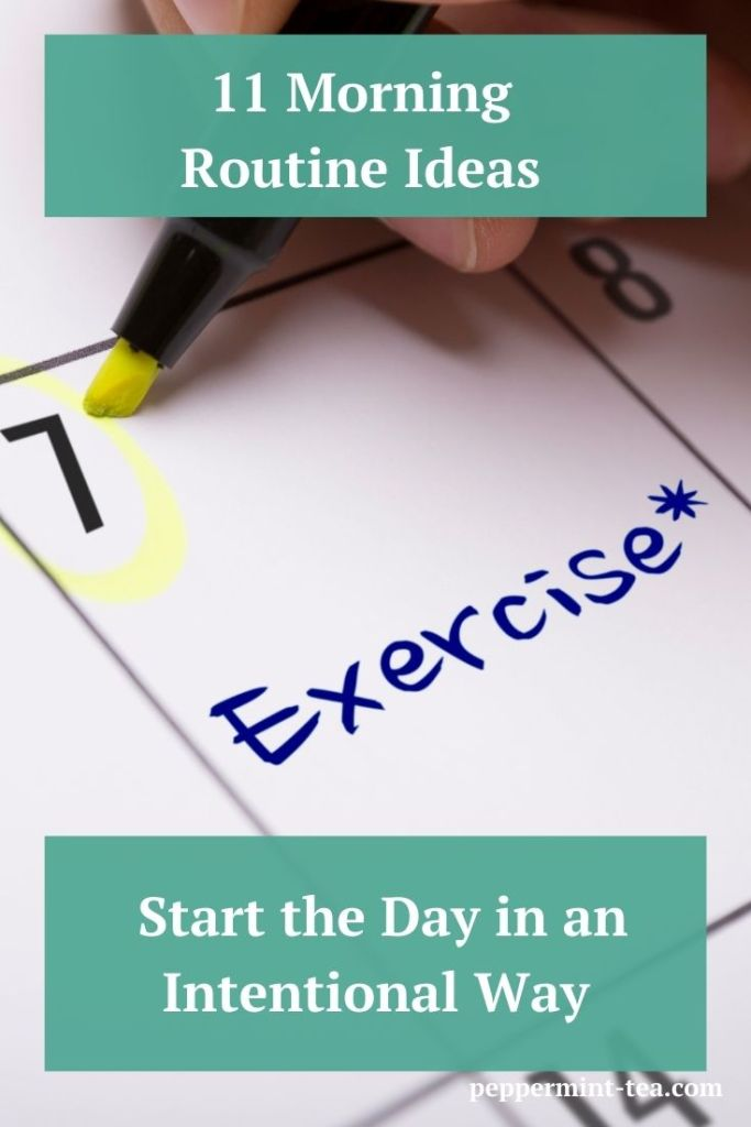 Photo of a calendar with exercise written on it as an example of morning routine ideas.
