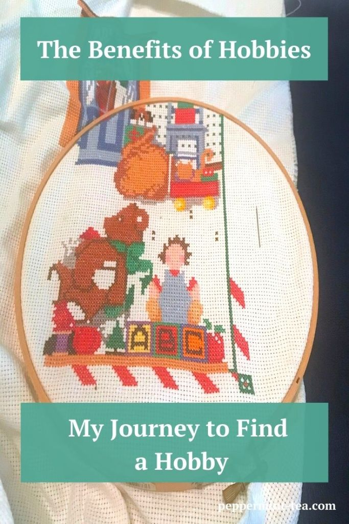 Photo of unfinished Christmas cross stitch as an example of the benefits of hobbies
