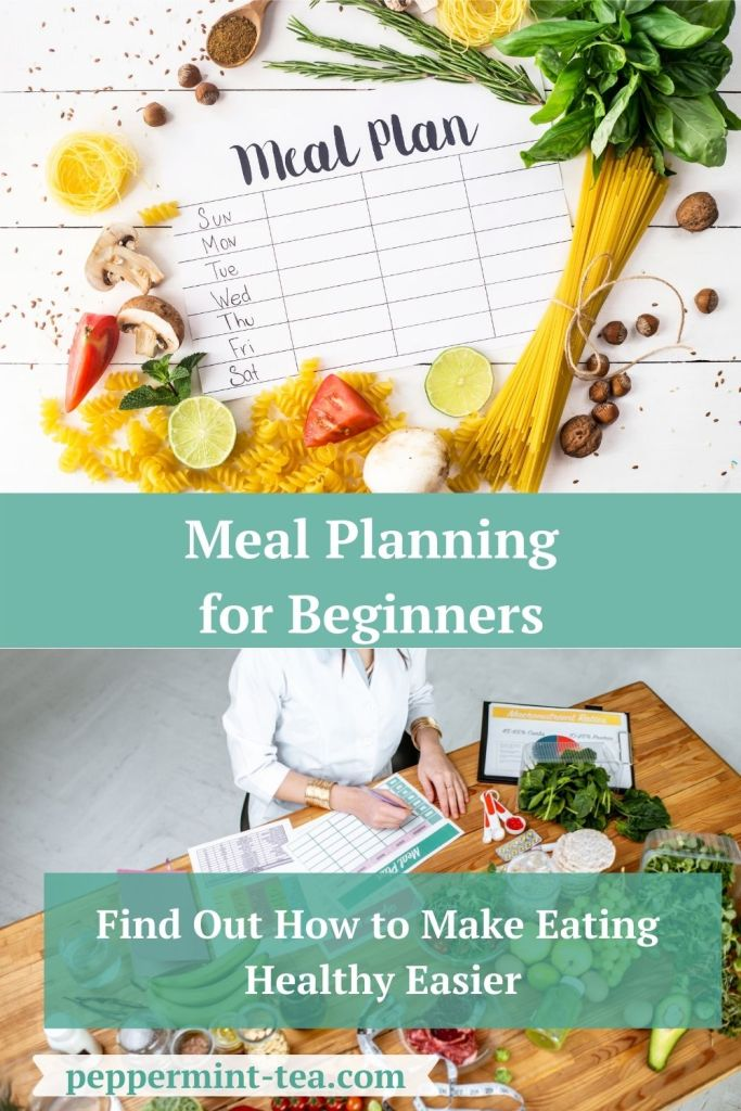 Photo of meal planning calendar and woman filling out meal planning calendar as examples of meal planning for beginners.