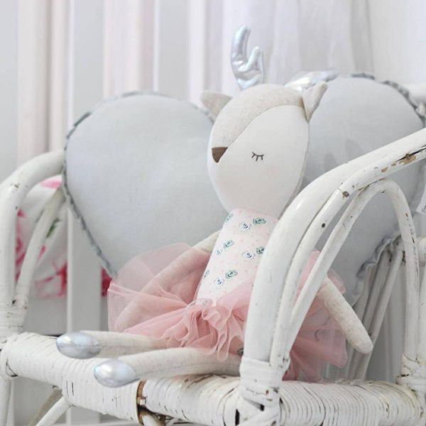 Girls Room - White Wicker Chair with Medium Light Grey Heart Cushion and soft toy deer