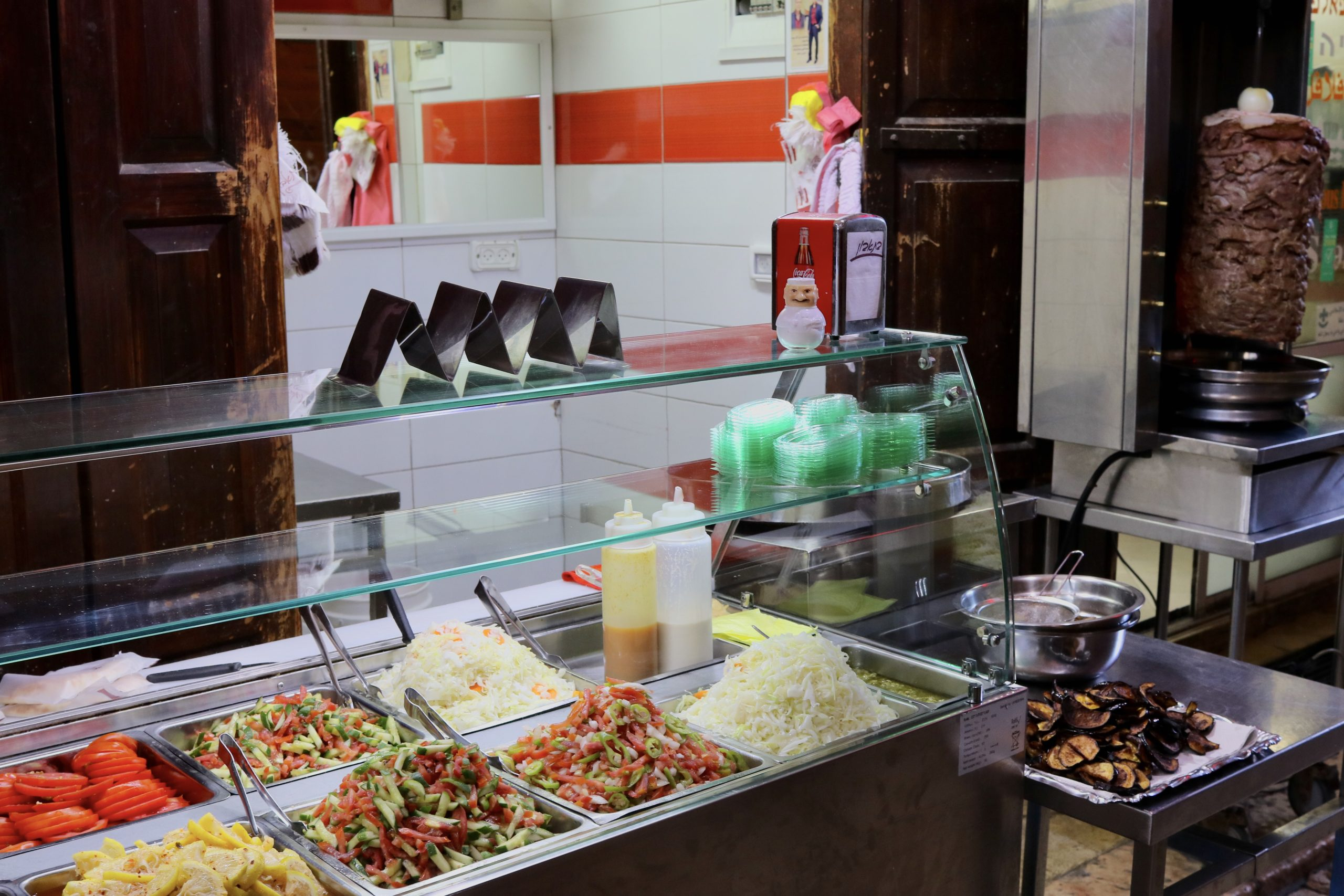 Shawarma with Middle Eastern salads