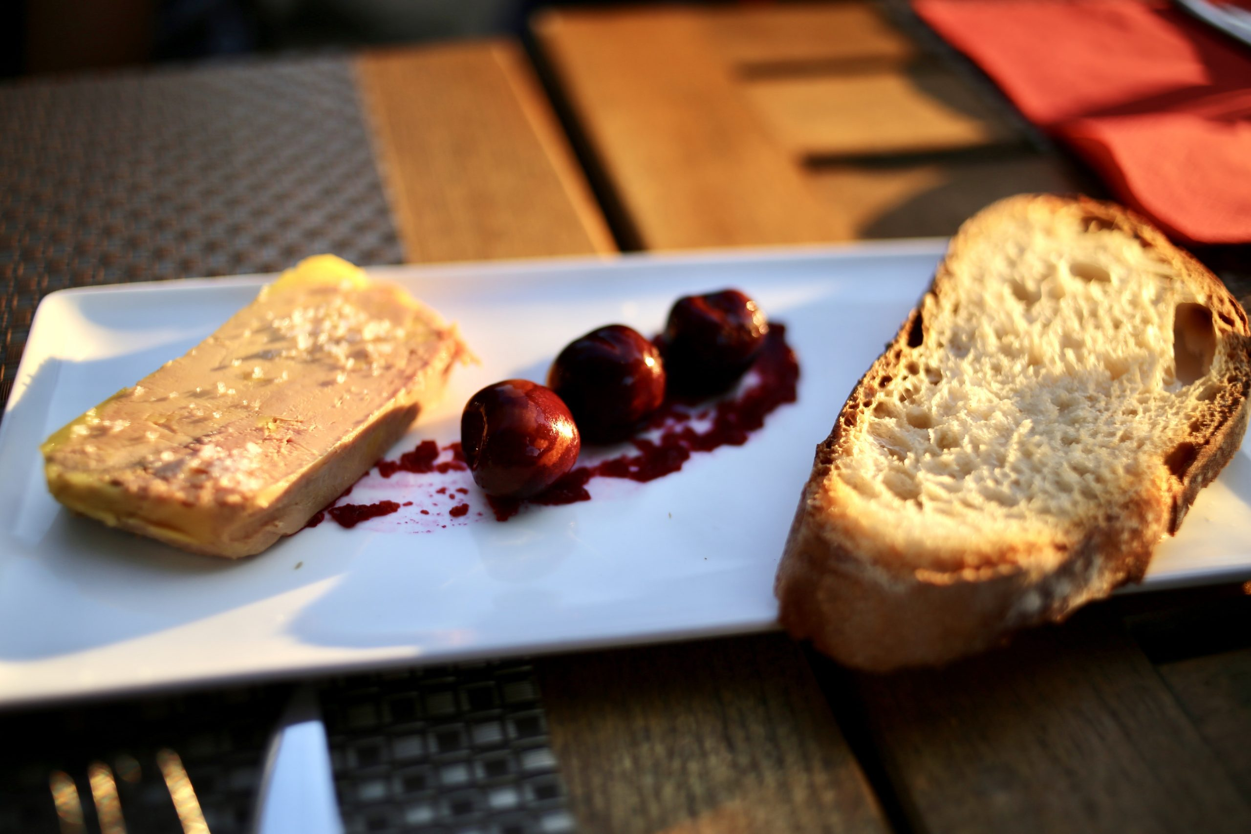 Foie gras with cherries in the Aquitaine countryside, France